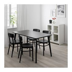 LISABO / RÖNNINGE Table and 4 chairs, ash veneer, green. Easy to assemble as each leg has only one screw. Table legs of solid wood, a hardwearing natural material. Gray Dining Chairs, Dining Room Table, Table And Chairs, Ikea Lisabo, Black Ikea Kitchen, Chaise Ikea, Chair Backs, Table Legs, Wood Veneer
