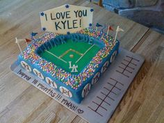 Made this cake for a HUGE Dodger fan - came with a couple tickets to a game :) Paid special attention to stadium details to make it personal! Dodgers Cake, Baseball Birthday Party, Dodger Stadium, Let Them Eat Cake, Cake Ideas, Fan, Cakes, Gift Ideas, Couples