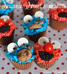 Baby Sesame Street cupcakes – Elmo and The Cookie Monster