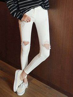 White Distressed Cut Out Slim Jeans | Persunmall