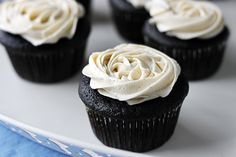 Chocolate Ganache Filled Cupcakes with Vanilla Bean Buttercream Frosting