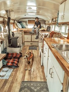 We transformed a 1989 bus into an off-grid, four season home on wheels. It's a Chevy B6P with a tiny wood stove for heat, 80 gallons of fresh water storage, solar power, diesel generator and lots of beautiful reclaimed wood -- our favorite. Read more about the unique features and open design of our tiny home...