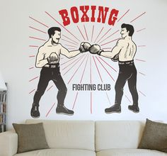 From our collection of sports stickers, a boxing wall decal with an old-school vintage style. A design showing two classic style boxers posing with their fists together.  If you are a fan of boxing or are even an amateur boxer yourself then why not decorate your spaces with this fun retro sticker that suits your hobbies and interests. Ideal also for decorating boxing gyms and clubs in an original way. #Boxing #Sports #Decoration