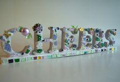 Mosaic Word Cheers in lavender motif