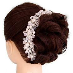 結婚式のヘアアクセサリークリスタルパール手作りヘッドバンドブライダルティアラヘアジュエリーロマンチックなブライダルヘアアクセサリーsl
