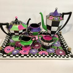 Tea set transformation! Send me YOUR set - new or old- and I will add the artwork. I can recreate one if my designs, or create a custom design just for you. One that coordinates perfectly with your decor. Contact me for my studio address. Use this link to pay for a three (3) piece set :  https://www.etsy.com/listing/510304826/three-piece-tea-set-art-whimsical?ref=shop_home_active_4  Use this link to pay for a three (3) piece set PLUS a tray…