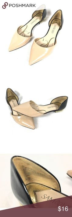 Cream and Black D'Orsay Flats Man made materials. Size 6.5. Great condition. Gold detail around heel. Unfortunately my feet are not long enough to hold them on well. They are a re-posh, so asking what I paid. A real steal! Sam & Libby Shoes Flats & Loafers