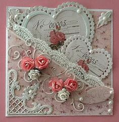 Ideas Vintage Wedding Cards Handmade Ideas Valentines Day For 2019 Pretty Cards, Love Cards, Valentine Day Cards, Valentines Diy, Disney Valentines, Wedding Anniversary Cards, Wedding Cards, Wedding Invitations, Shabby Chic Cards