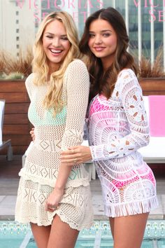 "Victoria's Secret models Candice Swanepoel and Miranda Kerr show off the Victoria's Secret ""Swim"" Collection 2012 at the Thompson Hotel in Beverly Hills on March 29,2012."