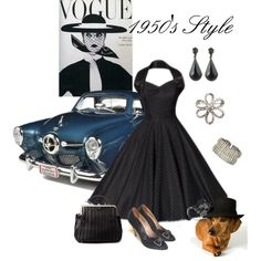 """""""1950's Style"""" by shipnest on Polyvore I love everything about this picture except the dog....Haha."""