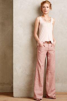 Pilcro Herringbone Linen Trousers Wine 4 Pants with drapey tank top Cool Summer Outfits, Cute Fall Outfits, Casual Outfits, Fashion Outfits, Womens Fashion, Linen Pants Outfit, Linen Trousers, Linen Pants Women, Wide Leg Linen Pants
