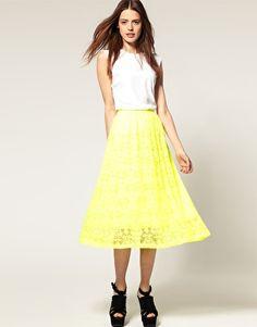 Neon lace skirt http://rstyle.me/ftmuqcbu6e and white tank