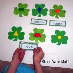 Shamrock Shape Word Match
