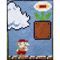 Super Mario Bros quilt pattern via Carolina Patchworks.  Coolest. Quilt. Ever.