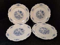 """Homer Laughlin Virginia Rose Dresden Imperial Blue Dinner Plate 10"""" FOUR NICE! #HomerLaughlin"""