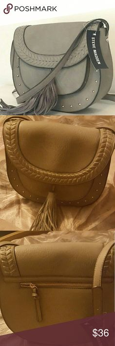 Light Grey Nola Steve Madden Crossbody Beautiful New Bag with an accent tassel 2 interior pockers...55in strap...medium sized...zip pocket ... Steve Madden Bags Crossbody Bags