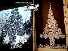 Paper snowflakes fir tree for the window or I'm thinking place these bad boys on a canvas and spay paint so I'll be left with images of snowflakes in a tree pattern