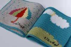 "Instant Download Crochet Pattern ""What is the weather today?"" baby soft book.Make a beautiful baby gift book to talk about weather, suitable for babies and toddlers.Inspired by my desire to see children reading from an early age, this book has been designed to help stimulate conversation with it's bright pictures. It is never too early to introduce a baby to books and this one is ideal to enjoy together, washable, baby safe and fun.The pattern includes full colour charts to make the six…"