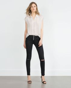 Image 1 of RIPPED SKINNY JEANS from Zara
