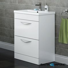 Take the hassle out of fitting your latest bathroom cabinet to the wall, with our expansive range of floor standing vanity units & save space in your new bathroom. Bathroom Floor Cabinets, Bathroom Vanity Units, Bathroom Flooring, Bathroom Ideas, Space Saving Bathroom, Ideal Home Show, Free Kitchen Design, Basin Cabinet, Kitchen Installation