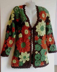 Granny Square Crochet Cardigan Pattern Ideas for Summer or Winter - Page 53 of 59 Crochet Coat, Crochet Jacket, Crochet Cardigan, Crochet Clothes, Cardigan Pattern, Freeform Crochet, Irish Crochet, Easy Crochet, Pulls