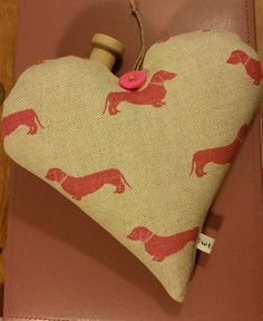 Emily Bond Pink Dachshund Organic Lavender Heart. Hand sewn by Cwtches Crafts.
