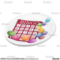 Your guests will love to serve themselves on these custom BINGO paper plates! Two sizes are available and you can add background color to customize, too! ♥  BINGO Card with BINGO Balls Paper Plate #LasVegasIcons #Gravityx9 -