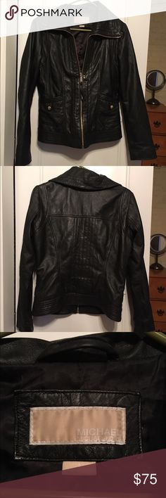 Michael Kors Genuine Leather Jacket High quality, soft leather. In great condition. Selling only because I don't like the style Michael Kors Jackets & Coats