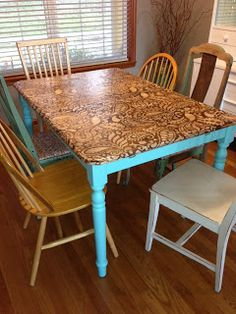 Kitchen Table Transformation Using Chalk Paint and Wood Stain ...