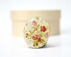 Cocktail Ring vintage floral wood ring wood jewelry floral shabby chic jewelry nature inspired jewelry for her eco friendly nature gift.