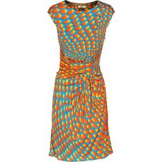 ISSA Sunshine Orange turquoise Waisted midi length dress ($375) ❤ liked on Polyvore featuring dresses, ruching dress, midi dress, turquoise dress, slim fit dress and ruched midi dress