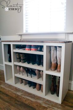 I built this awesome shoe storage cabinet and it's the first piece in an entire modular closet storage system! When I built my home, I had the opportunity to design my closet.After making so many Shoe Storage Cabinet With Doors, Wood Shoe Storage, Closet Storage Systems, Boot Storage, Diy Shoe Rack, Laundry Room Storage, Diy Storage, Storage Solutions, Diy Shoe Organizer