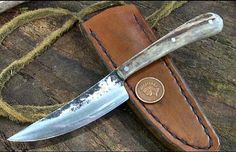 """WoodS patch Neck Knife/Zipper.. pattern Aged blade... Very Nice  Stag Handle with 3 Steel pins.. Forged tapered tang...Antiqued Neck Sheath.. Handy short Knife..Great Game Zipper or Patch Knife Handle Size about:  3 5/16""""  Blade size about: 3 3/16""""   ML Knives"""