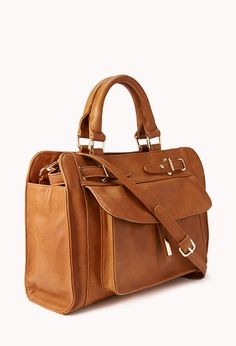 Structured Faux Leather Tote | FOREVER21 - for $30.  Big bag for everything I could ever need!!