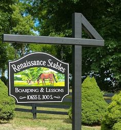 Renaissance Stables is a unique and striking farm sign which features bright hand painted artwork and hand carved and painted letters. The Farm, Farm Entrance, Custom Business Signs, Church Signs, Farm Signs, Driveway Landscaping, Outdoor Signs, Horse Farms, Hanging Signs