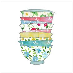 Stack of Bowls Watercolor, $21