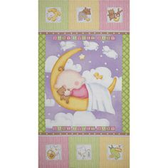 """Sweet Pea Sleepytime 24"""" Panel Pink from @fabricdotcom  Designed by Julie Dobson Miner for Studio E, this fabric is perfect for quilting, apparel and home decor accents. Colors include pastel purple, yellow, blue, green, mocha, pink and white. Sold by the panel which measures 24''X 44''."""
