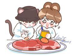 Jungkook Fanart, Kpop Fanart, Bts Jungkook, Bts Chibi, Anime Chibi, Anime Art, Bts Drawings, Cartoon Drawings, Army Drawing