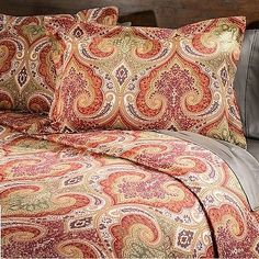 3-Piece Red Paisley Moroccan Duvet Cover Set QUEEN Boho Bohemian Medallion Green