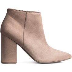 H&M Ankle Boots $24.99 (16.390 CLP) ❤ liked on Polyvore featuring shoes, boots, ankle booties, block heel booties, taupe ankle boots, faux suede ankle boots, pointy toe booties and taupe ankle booties