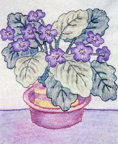 Grandma's Potted Treasures BOM - Block 5 Embroidery Pattern by Black Cat Creations - Judy Reynolds and Amy Cotham. Block of the Month crayon pattern. Crayon Painting, Thread Painting, Crayon Art, Fabric Painting, Fabric Art, Paint Fabric, Fabric Books, Quilting Tutorials, Quilting Projects