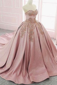 Sweetheart pink satin long train lace ball gown, formal prom dresses from Sweetheart Dress Pink satin prom dress, sweetheart prom dress, ball gowns wedding dress Evening Dress Long, Long Prom Gowns, Ball Gowns Prom, Lace Evening Dresses, Evening Gowns, Party Gowns, Short Prom, Quince Dresses, 15 Dresses