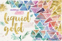 Liquid Gold for Illustrator by Studio Denmark. Watercolor and gold effects.
