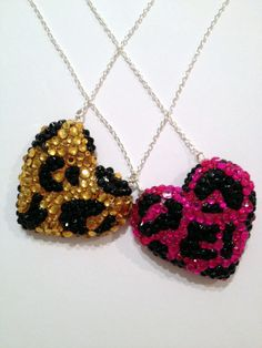 Leopard Print Crystal Heart Pendant Wild by DiamondsAndDaggers, £25.00- I love these