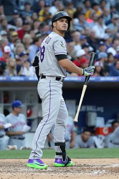 Nolan Arenado of the Colorado Rockies reacts during the 87th Annual MLB AllStar Game at PETCO Park on July 12 2016 in San Diego California