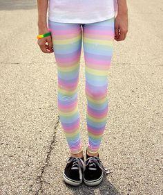 Pastel Rainbow Stripe Sparkle Leggings by SugarJunkieShop on Etsy
