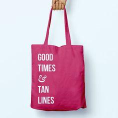 Good Times & Tan Lines Slogan Quote Cotton by PaperTigersApparel Bag Names, Shopper Bag, Tan Lines, Slogan, Good Times, Reusable Tote Bags, Quote, Sewing, Trending Outfits