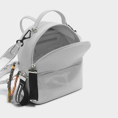 GREY Mesh Detail Backpack |CHARLES & KEITH