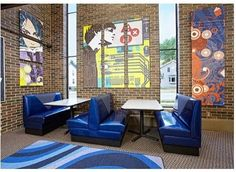 school library ideas | booths and art | School: Library: design ideas