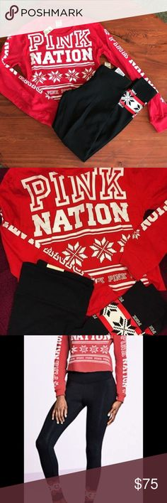 NWT ❤️🎉 Small Pink Victoria Secret Pink Nation NWT 😍👍❤️❤️🎉 Small Pink Victoria Secret Pink Nation Holiday 2017  Set includes top and leggings. Just in time for the holidays! 🎅🏽❤️🎉👍😍 Tag price over $80 Sold out in Stores PINK Victoria's Secret Other